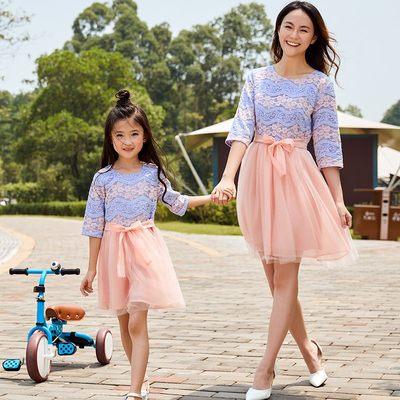 恬贝儿 亲子装秋装母女装连衣裙2017新款潮韩版中袖修身亲子礼服