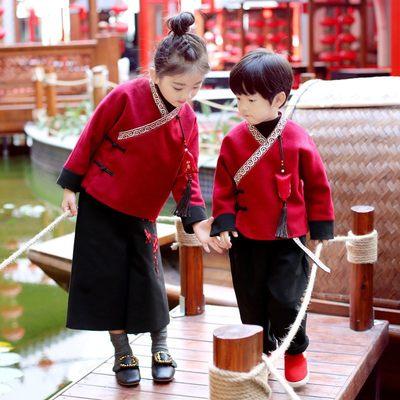 宝宝唐装冬周岁男童汉服儿童女童中国风过年拜年喜庆新年衣服套装