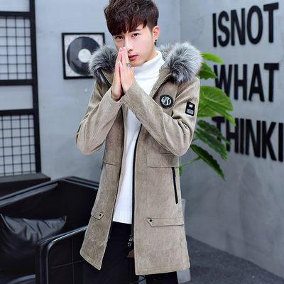 中长款韩版风衣男潮牌百搭加绒加厚大衣冬季外套2017新款帅气学生