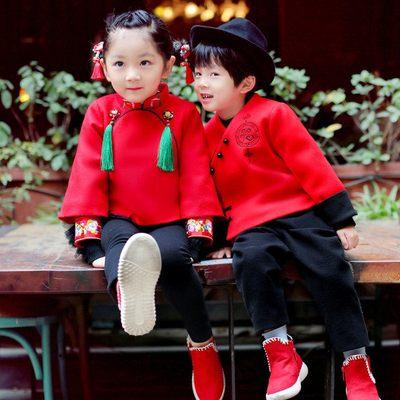 女童装旗袍新年唐装冬过年衣服3喜庆4岁中国风儿童拜年男套装宝宝