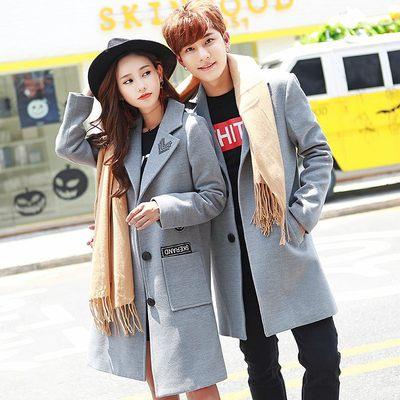情侣装冬装2017新款秋冬季韩版中长款修身呢子大衣女加厚毛呢外套