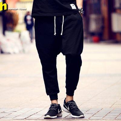 吊裆裤哈伦裤男九分裤HIPHOP嘻哈宽松裤子潮牌加绒垮裤低裆拉裆裤
