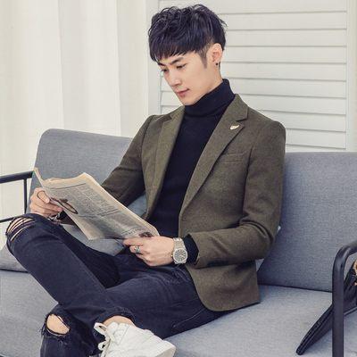 小西装男韩版修身冬季加厚上衣外套青年帅气呢子休闲西服呢料单西
