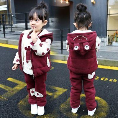 女童三件套运动套装2017新款5宝宝3秋冬装4加绒卫衣6岁儿童装加厚