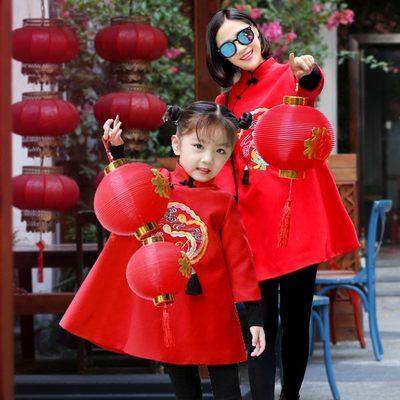 亲子装冬装2018新款潮秋装母子母女装旗袍全家装一家三口唐装套装