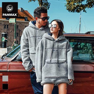 PANMAX潮牌大码男装 胖子冬装男衣服羊羔绒宽松加肥加大连帽卫衣