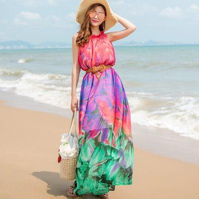 2018裙子夏波西米亚长裙沙滩裙海边度假显瘦雪纺连衣裙