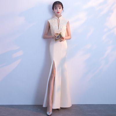 宴会晚礼服2018新款高贵优雅性感长款香槟色鱼尾礼服裙女公司年会