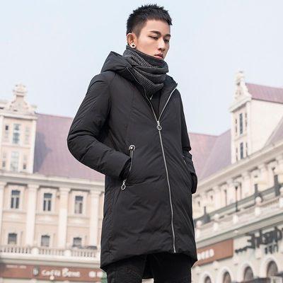 猫人男装中长款羽绒服男冬季新款青年黑色修身连帽韩版休闲外套