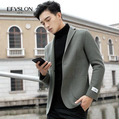 男装秋冬羊毛呢子休闲西服纯手工双面呢韩版修身无羊绒小西装外套