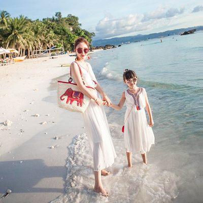 亲子装夏女童沙滩裙2017新母女装波西米亚长裙海边度假公主连衣裙