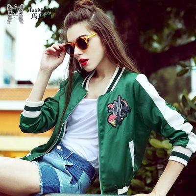 玛玛绨2018春装新款个性刺绣休闲棒球服夹克女装时尚宽松短外套潮