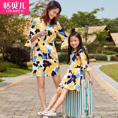 恬贝儿 母女装秋装连衣裙2017新款潮韩版亲子装秋冬女童礼服裙子