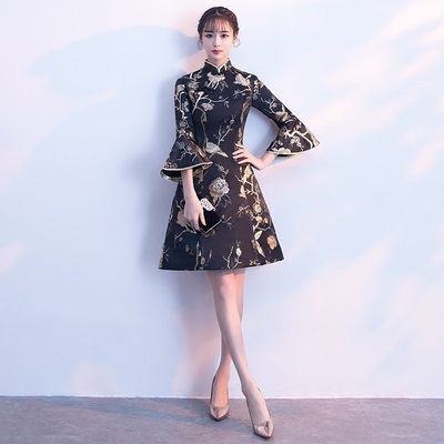 冬季旗袍2018新款少女长袖连衣裙宴会派对聚会晚礼服短款公司年会