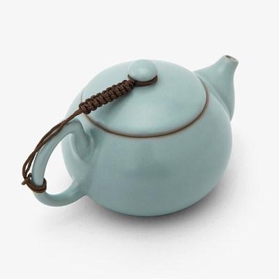 东道 汝窑坐禅茶组 汝窑茶具套装开片汝瓷功夫整套茶具 坐禅小茶组一壶三杯-天青
